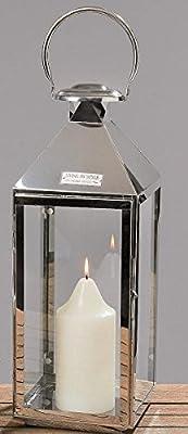 Laterne Edelstahl silber H: 51cm Metalllaterne Windlicht Edelstahllaterne von kuheiga - Du und dein Garten