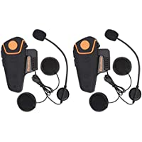 Excelvan 2×Auriculares Intercomunicador Bluetooth para Casco de Motocicleta Moto Intercom Headset 1000M Radio FM