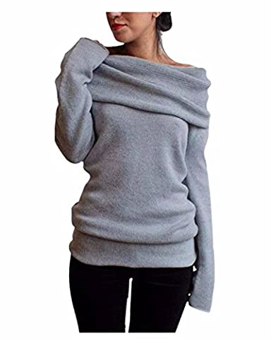 Minetom Femme Manches Longues Sweatshirt Sexy Tricot Pull Epaule Nue Slim Sweater Jumpers Hauts ( Gris FR 46 )