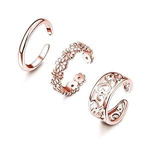 Adramata 3Pcs Zehenringe für Frauen Mädchen Einstellbare Open Toe Ring Geschenke Schmuck-Set