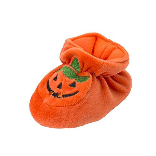 D DOLITY Baby Mädchen Jungen Plüschschuhe Halloween Kürbis Weiche Sohle Freizeitschuhe Kleine Krabbelschuhe Geschenk - Orange, 10 cm