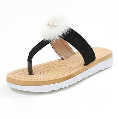 zhENfu donna pantofole & amp; flip-flops estate abito Felpa casual tacco basso pom-pom cammello a piedi neri Black