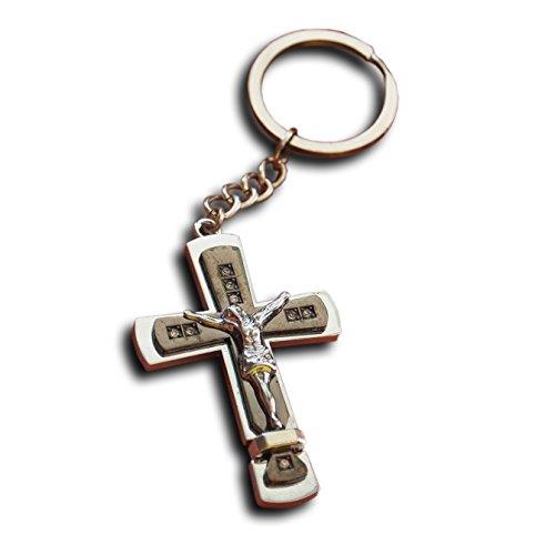 LivelyBuy Jesus Kruzifix Schlüsselring Heiliges Kreuz Schlüsselband Glaube Religiöses Katholisches Geschenk Schlüsselring Christliches Geschenk