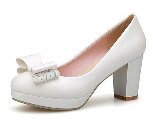 AgooLar Femme à Talon Haut Matière Souple Couleur Unie Tire Rond Chaussures Légeres Blanc