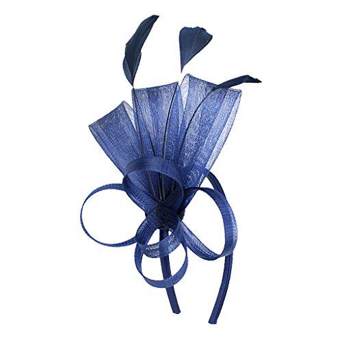 MagiDeal Dame Feder Fascinator mit Stirnband Schleifen Schleier Derby Cocktail Kostüm Kopfschmuck - Dunkelblau