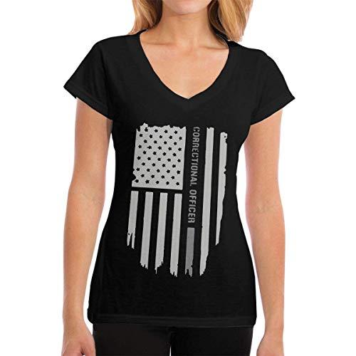 T-Shirts Thin Silver Line Correctional Officer Women's Casual Damenmode Kurzarm V-Ausschnitt T-Shirt