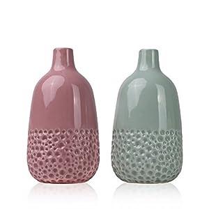 ... Kleine Vase Keramikvasenset 17cm Set Von 2 Grün Rosa Handmade Moderne  Dekorative Vase Für Wohnzimmer, Küche, Tisch, Zuhause, Büro, Hochzeit,  Herzstück ...