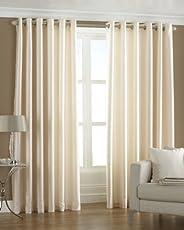 PINDIA Eyelet Polyester Long Door Curtain, Cream
