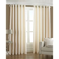 PINDIA 2 PC COMBO Faux Silk Eyelet Door Window Curtain, Polyester Plain Ringtop - 5 ft - Cream