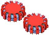 2er Set Warnleuchte Led, Warnblitzer Warnsignal Warnblinkleuchte Blinklicht mit Magnet &16 Led für Auto Notfall Pannenhilfe