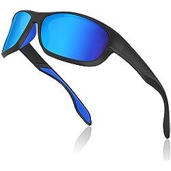 Avoalre Gafas de Sol Hombres Polarizadas Gafas Deportivas Unisex Anti UV400 Marco TR90 Súper Ligero y Mujer Ciclismo MTB Running Coche Moto Montaña - Azules