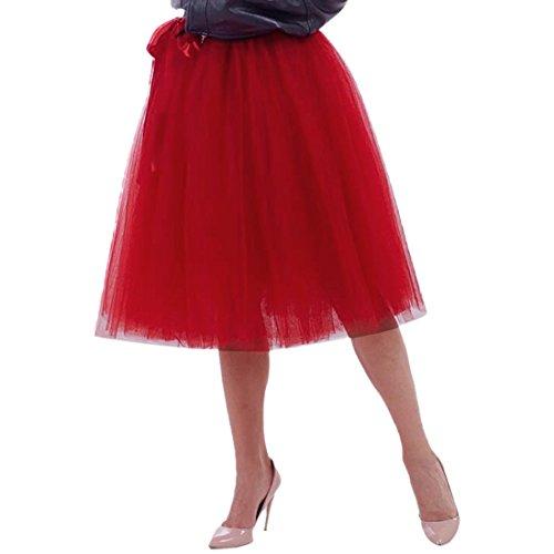 Femmes Tutu Ballet Jupe, 25,6 pouces en couches Organza dentelle Bubble Puffy une ligne courte et Maxi longueur Tulle princesse Petticoat pour la robe de bal de bal Bourgogne