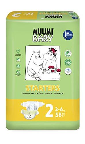 Muumi Baby Premium Öko Windeln Neugeboren - Größe 2, 3-6kg, 58 Stück