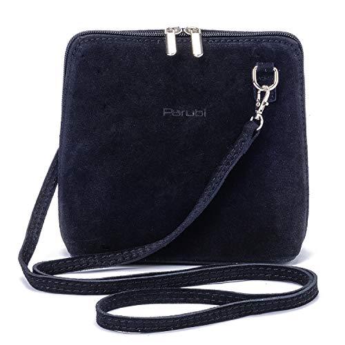 Parubi, borsa donna a tracolla, in vera pelle scamosciata, made in italy, modello alina 4.0, borsetta nera piccola pochette a tracolla clutch da donna ragazza elegante, colore nero
