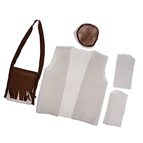 Gazechimp Set Costume Berger du Moyen Age Chapeau,Sac Bandoulière, Veste, Paire Guêtre en Coton pour