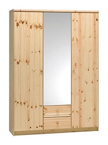 AVANTI TRENDSTORE - EDMUND - Armadio in pino d'imitazione, in parte in legno massiccio con anta centrale specchiata, ca. 141x200x50 cm