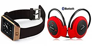 GENERIC Smart Watch & Bluetooth Headset compatible with LENOVO phab(Bluetooth Mini 503 Headset & Bluetooth DZ09 Smart Watch Wrist Watch Phone with Camera & SIM Card Support Hot Fashion New Arrival Best Selling Premium Quality Lowest Price with Apps like Facebook, Whatsapp, Twitter, Sports, Health, Pedometer, Sedentary Remind & Sleep Monitoring, Better Display, Loud Speaker, Touch Screen, Multi-Language, Compatible with Android iOS Mobile Tablet-Assorted Color)