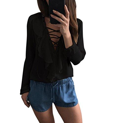 Bekleidung Longra Damen Casual V Neck Straps Langarmshirts Shirt Damen Chiffon Lose T-Shirt Bluse Tops Black