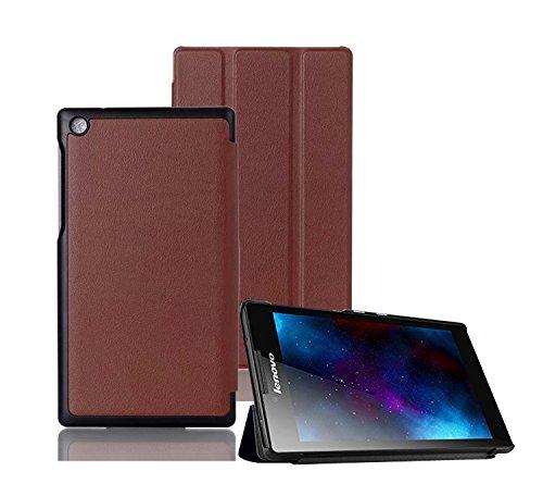 Tsmine Lenovo Tab 2 A7-30 7-Zoll-Tablet Slim Case - Premium Tri-Fold PU Ledertasche Slim Lightweight Stand Cover für Lenovo Tab 2 A7-30 7-Zoll-Tablet,Marrón