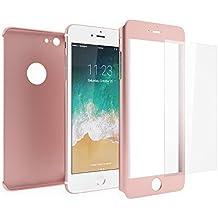 Funda iPhone 6s 360 Integral Para Ambas Caras + Protector de Pantalla de Vidrio Templado, Mobilyos® [ 360 ° ] [ Oro Rosa ] Case / Cover / Carcasa iPhone 6s / 6