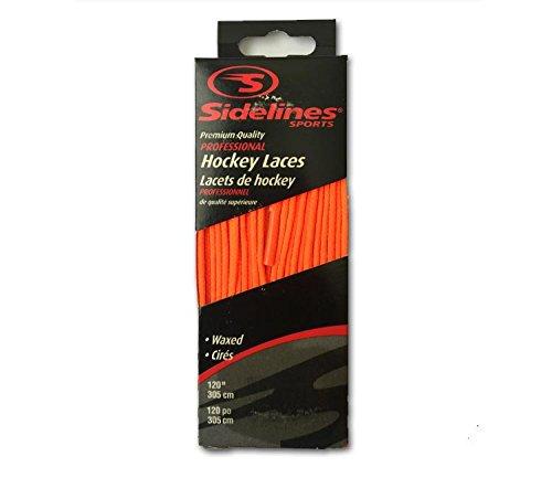Schnürsenkel farbig gewachst Schuhbänder für Eishockey sidelines (neon orange, 274 cm)