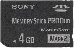 4GB Sony - Memory Stick Pro Duo Mark2 Speicherkarte für Digitalkamera Sony Cyber-shot DSC-H50 / DSC-H7 / DSC-H9 / DSC-L1 / DSC-M1 / DSC-M2 / DSC-N1 / DSC-N2 / DSC-P10 / DSC-P100 / DSC-P12