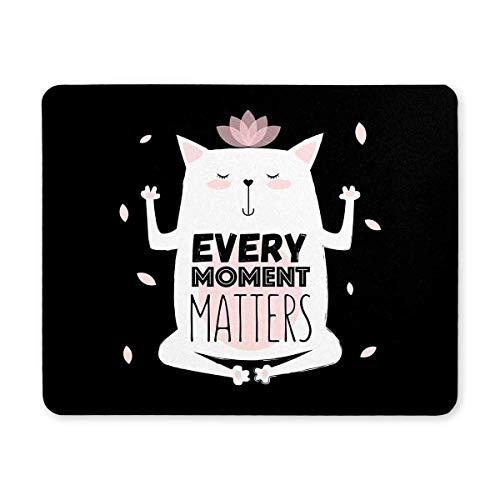 Luancrop Funny Valentine 's Cartoon Meditative Yoga Katze jeden Moment zählt Rechteck rutschfeste Gummi komfortable Computer-Maus-Pad Gaming Mousepad Matte mit Designs für Office Home Frau Mann -