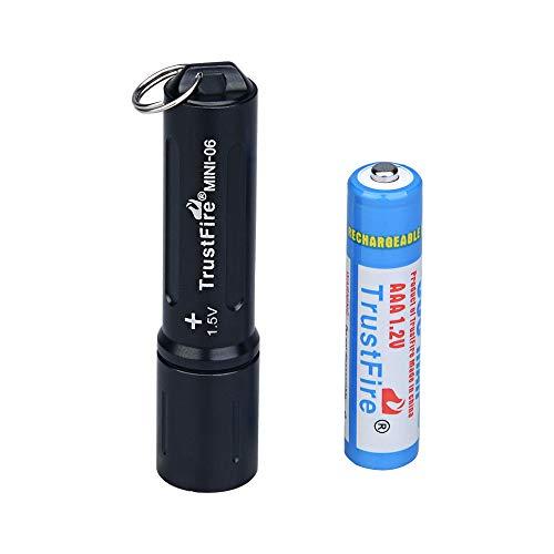 TrustFire MINI-06 Mini Led Taschenlampe 90 Lumen mit Schlüßelanhänger und AAA Akku Batterie aufladbar - Schwarz