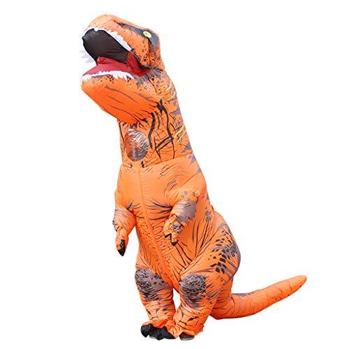 Famico Aufblasbares Dinosaurier-Kostüm für erwachsenes Halloween-Partykleid, orange
