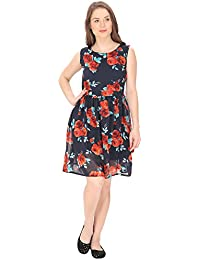 FRANCLO Women's Georgette Midi Dress (Best fit 30-32 Bust)