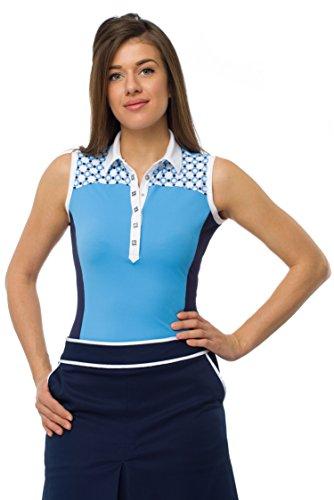 LUDOVICA Damen Colorblock Golfshirt ärmellos aus technischem Piquetstoff mit Geoprint (S, bonnie blue) (Blue Stoffen Bonnie)