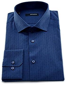 Seidensticker Herren Langarm Hemd Regular Fit Spread Kent blau strukturiert 110840.19