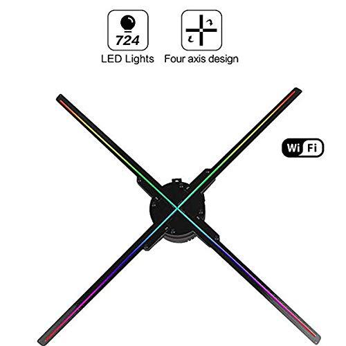 QXTYYGG Hologramm Projektor WiFi 3D APP-Steuerung Fan Vierachsiger Entwurfs-Videoprojektor, 724 LED-Anzeigen-Werbungs-Holographisches Licht