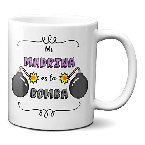 Planetacase Taza para Madrina - Mi Madrina es la Bomba - Regalo Original Familia Ceramica 330 mL