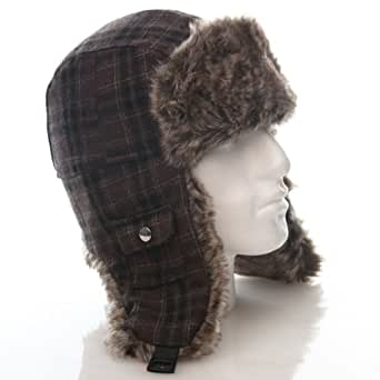 Unisex Wool Mix Checked Trapper with Fur Lining & Pocket Detail (60cm, Brown Check)