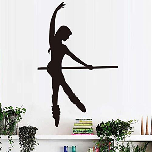 Schöne Mädchen Tanzen Ballett Wanddekor Aufkleber Wohnzimmer Sofa Hintergrund Selbstklebende Vinyl Wandtattoo Dekoration Diy 58 * 90 cm