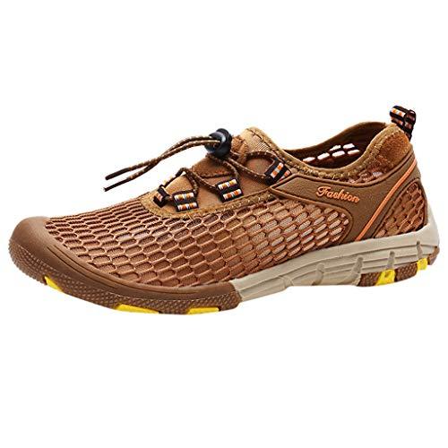 CUTUDE Herren Sneaker, Mode Freizeit Schuhe Rutschfeste Joggingschuhe Athletic Flat Running Mesh Schuhe Leichte Turnschuhe Mode Basketballschuhe (Braun, 39 EU)