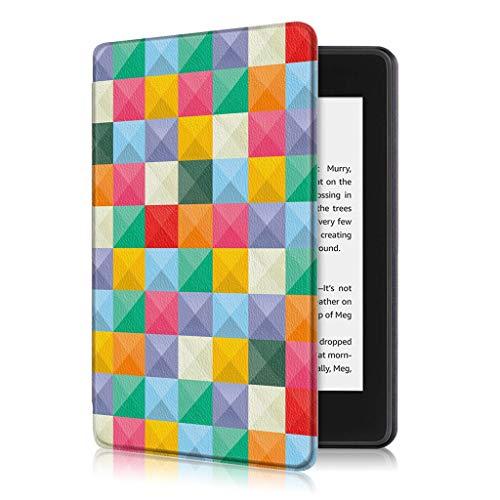 Dinglong 2019 intelligente Ledertasche Kindle Paperwhite 4 2018 Smart Thin Leder Schlaf Flip Cover Case (Farbmalerei-Cube Gitter) -