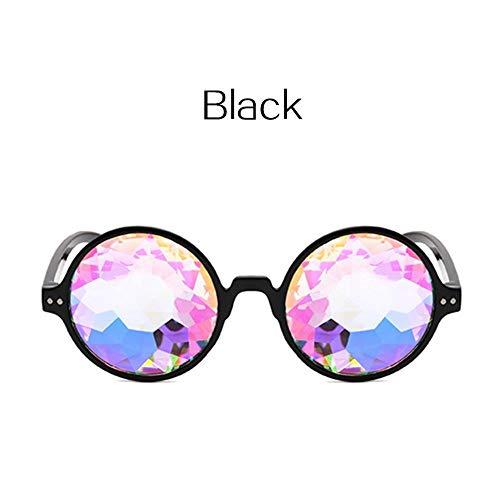 ZHOUYF Sonnenbrille Fahrerbrille Kaleidoskop Brille Karneval Herren Runde Kaleidoskop Sonnenbrille Damen Party Psychedelic Prism Diffraction Lens, A