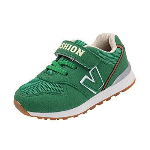 Mesh Atmungsaktive Sportschuhe Kleinkind Kinder, DoraMe Baby Mädchen Jungen Briefe Sneaker Sport Laufschuhe Unisex Anti-Rutsch Turnschuhe für 4-7 Jahr (5-5.5 Jahr/Size(CN):29, Grün)