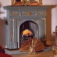 Dolls House grande Camino Casa delle bambole grigio/oro 2987
