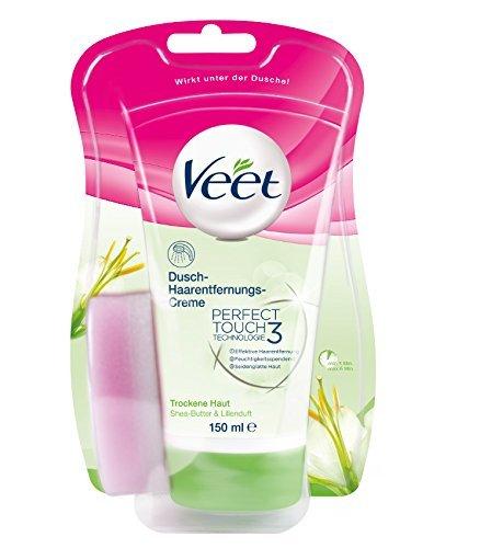 Veet for Men Dusch-Haarentfernungscreme Power Effect (Schnelle und effektive Haarentfernung für Männer in nur 3-6 Minuten, Tube mit Schwamm) (1 x 150 ml )