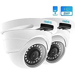 Reolink 5MP IP Kamera PoE Überwachungskamera Outdoor mit Audio, microSD Kartensteckplatz, Bewegungserkennung, Fernzugriff und IP66 Wasserfest für Aussen, Innen, Haus Sicherheit RLC-420-5MP(2 Stück)