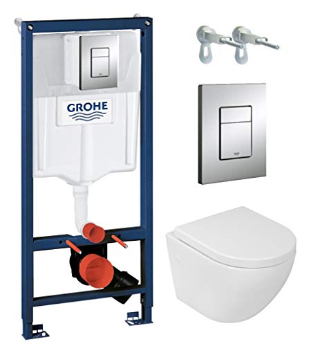 Grohe Vorwandelement inkl. Drückerplatte chrom + Lavita Wand WC Sofi ohne Spülrand + WC-Sitz mit Soft-Close-Absenkautomatik + Wand-Halter-Set
