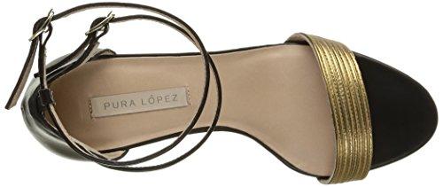 Pura Lopez Ah261, Sandales femme Noir (Baby Nap Noir/Napa Oro)