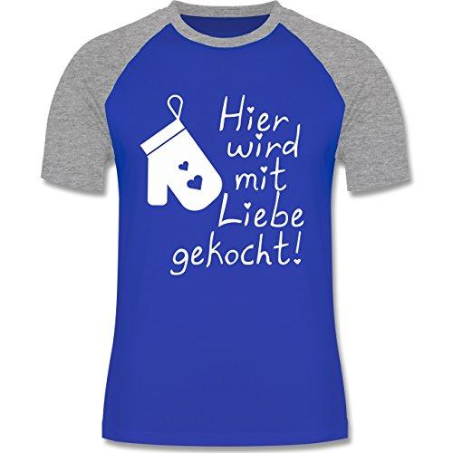 Küche - Hier wird mit Liebe gekocht - zweifarbiges Baseballshirt für Männer Royalblau/Grau meliert