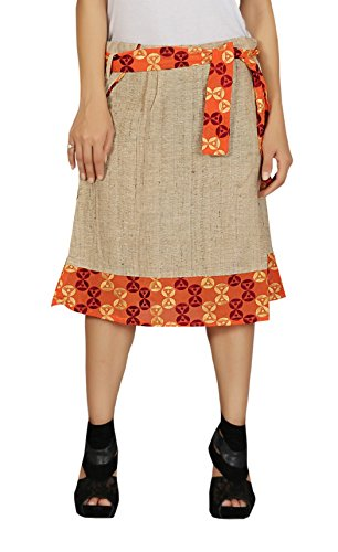 Women\u2019s & Girls Hakoba cotton embroidered Mid Midi Knee Length Flare Flow stylish Skirt with Lining inside. Color: Brown( One Size )
