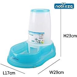 Dispensador de comida para perros o gatos Nobleza, de polipropileno color azul y transparente, capacidad 1,5 litros