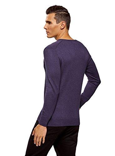 oodji Ultra Herren Eng geschnittener Pullover mit geripptem Ausschnitt aus weicher  Baumwolle Violett (8800M) ...