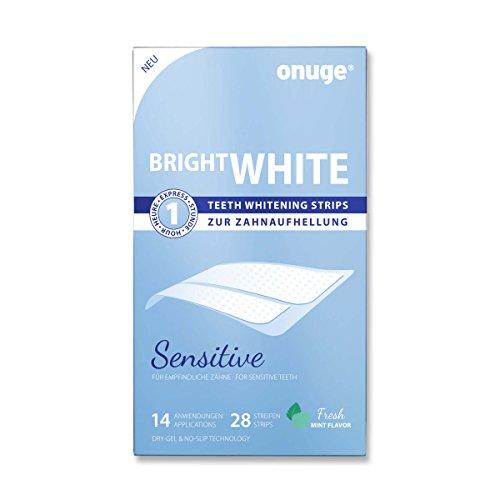 White Stripes SENSITIVE by Onuge, Zahnbleaching Set mit 28 Bleaching Strips zur Zahnaufhellung, Empfindliche Zähne weisser machen, Vegan und ohne Peroxid
